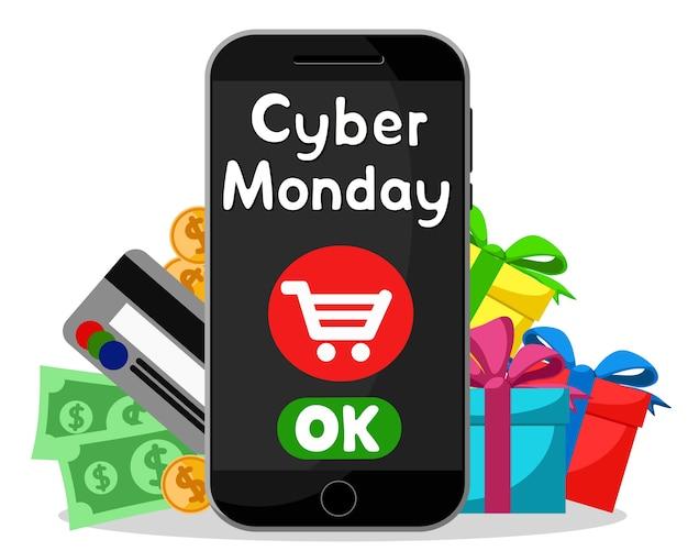 Cyber monday, achats en ligne via smartphone sur fond blanc.