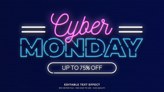 Cyber monday neon light typography premium effet de texte modifiable