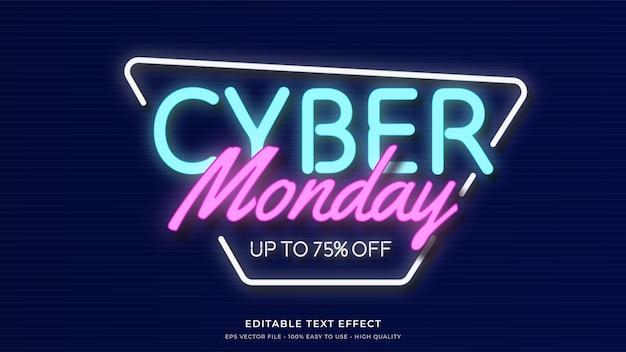 Cyber monday neon light typography premium effet de texte modifiable