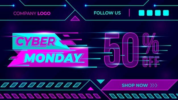 Cyber monday offre conception de bannières alerte de cybersécurité publicités sur les réseaux sociaux offre d'affiches de bannières