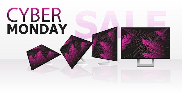 Cyber monday vente en ligne affiche publicitaire flyer vacances shopping promotion bannière remise concept horizontal vector illustration