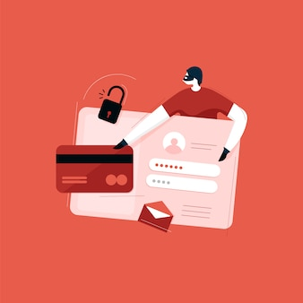 Cyber sécurité, antivirus, pirates informatiques et concepts de logiciels malveillants, vol de données personnelles