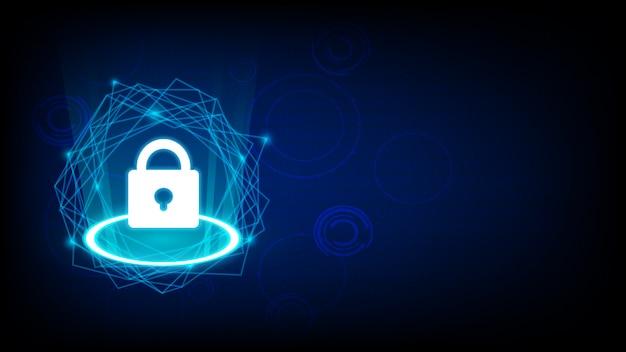 Cyber sécurité avec icône clé sur dark
