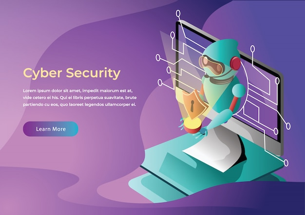 Cyber security web illustration plate