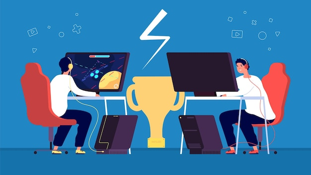 Cyber sport. l'équipe de joueurs pro esport joue au jeu vidéo en ligne sur des ordinateurs sur le concept de vecteur de tournoi. illustration e-sport professionnel, joueur pro de championnat
