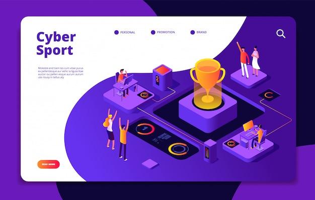Cyber sport. page de destination du marché concurrentiel des jeux sur console du tournoi de jeu vidéo en ligne de jeux vidéo