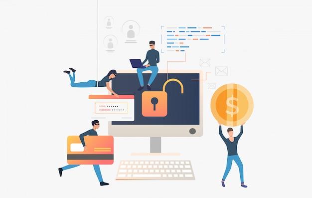 Cyber-voleurs piratant des données d'une banque d'ordinateurs
