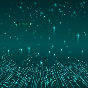 Cyberespace. concept futuriste. pistes de circuit et transfert de données