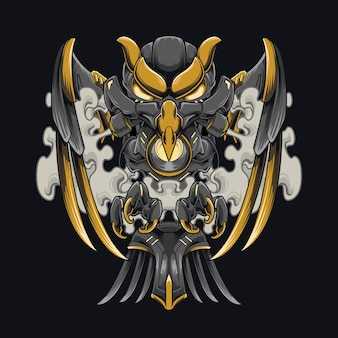 Cyberpunk crow mecha illustration steel black crow design pour vêtements et capuche