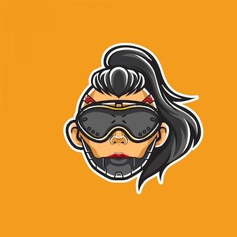 Cyberpunk girl head e-sport illustration