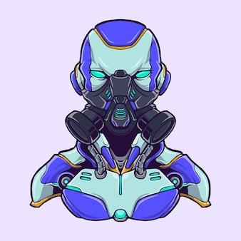 Cyberpunk robo halfbody logo illustration