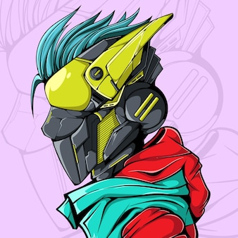 Cyberpunk robot iiilustration