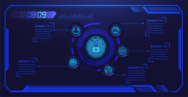 La cybersécurité du réseau hud à empreinte digitale.