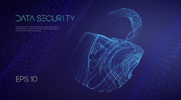 Cybersécurité des technologies de l'information. protection des données de courrier électronique en nuage de travail d'équipe informatique. illustration vectorielle. verrou de protection de sécurité réseau.