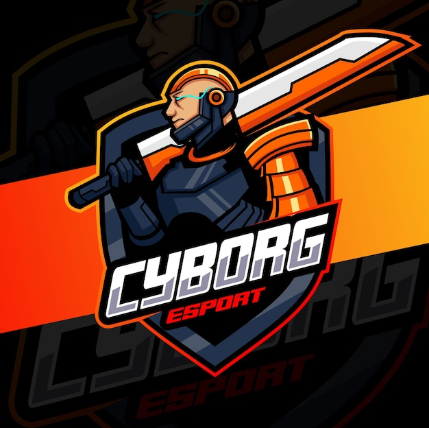 Cyborg avec la conception de logo esport mascotte épée