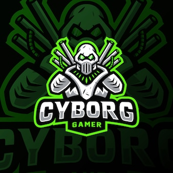 Cybortg mascotte logo esport gaming illustration