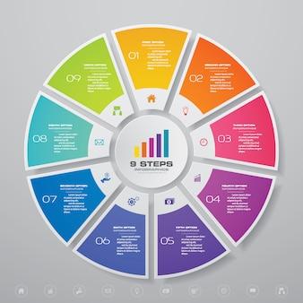 Cycle infographie éléments graphiques pour la présentation des données.