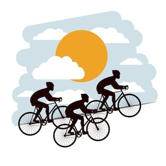 Cyclisme, concurrence, isolé, icône, conception