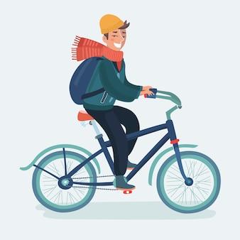 Cycliste. homme sur un vélo, icône 3d.