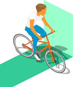 Cycliste Isométrique Vecteur Premium