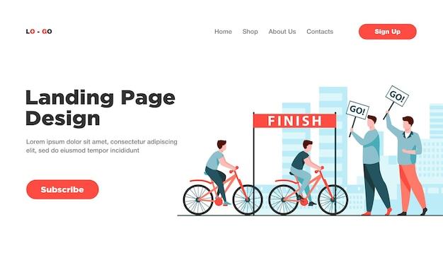 Cyclistes en compétition sur la page de destination du marathon de vélo de ville