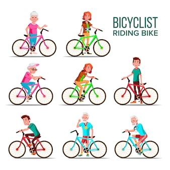 Cyclistes, équitation, vélos, dessin animé, caractères, ensemble