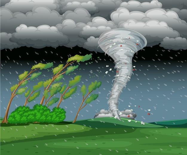 Cyclone dans l'orage pluvieux