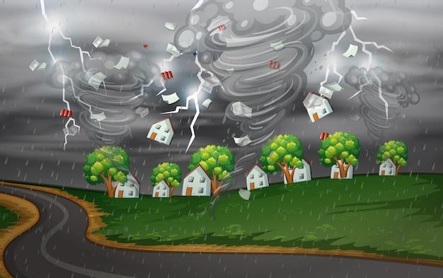 Cyclone frappe le village rural