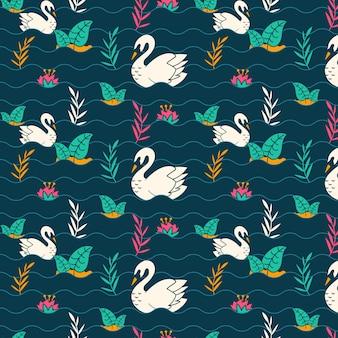 Cygne blanc créatif en motif de lac