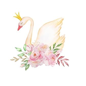 Le cygne doux à l'aquarelle est un symbole du seul amour, un oiseau romantique et magnifique avec une couronne et un bouquet de roses délicates. illustration isolée sur fond blanc.