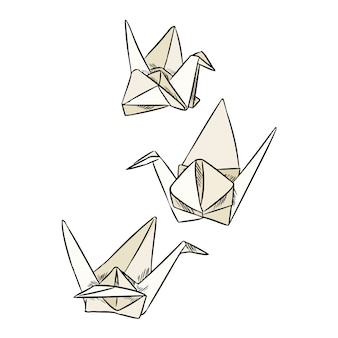 Cygnes en papier origami griffonnages.
