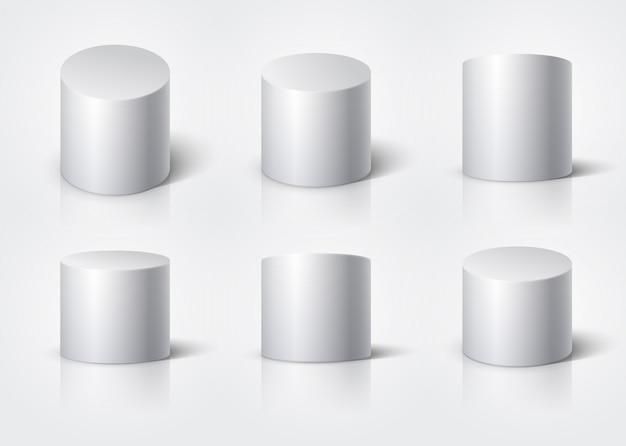 Cylindre blanc réaliste, stand vide autour du podium isolé. ensemble de vecteur de formes géométriques 3d