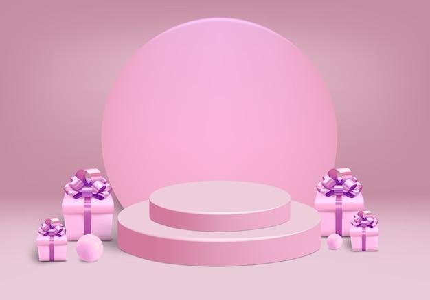 Cylindre avec boîte-cadeau et scène sur fond rose