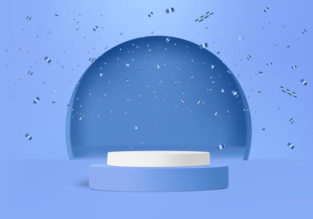 Cylindre avec confettis et forme d'arc