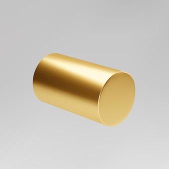 Cylindre rotatif 3d or isolé sur fond gris. pilier cylindre, pipe dorée. vecteur de forme géométrique de base 3d.