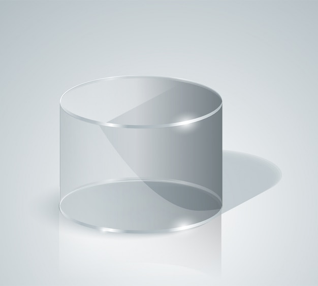 Cylindre en verre. cylindre transparent. isolé.