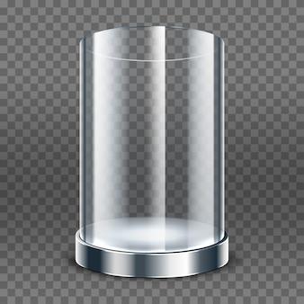 Cylindre en verre transparent vide isolé sur fond transparent. vitrine ronde. boîte d'exposition transparente