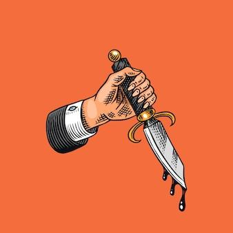 Dague à la main avec du sang. pour le tatouage ou l'étiquette. dessin au trait gravé à la main.