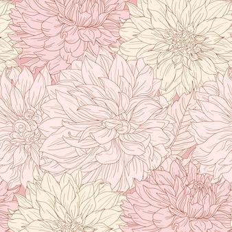 Dahlia fleur motif botanique sans soudure dessiné à la main