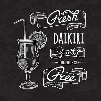 Daikiri cocktail sur tableau à craie