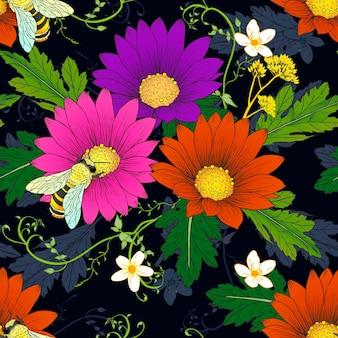 Daisy rétro avec motif transparent abeilles sur fond sombre