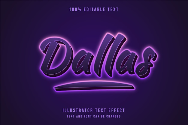 Dallas, effet de texte modifiable 3d effet de texte néon dégradé violet