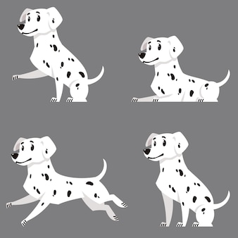 Dalmatien dans différentes poses. bel animal de compagnie en style cartoon.