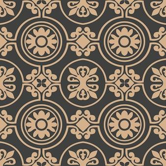 Damassé rétro transparente motif de fond rouns spirale courbe croix cadre fleur.