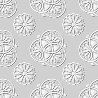 Damassé sans couture art papier 3d classique fleur ronde