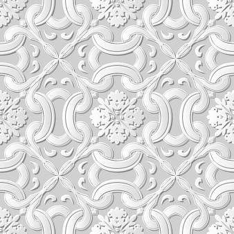 Damassé sans couture art papier 3d croix courbe fleur