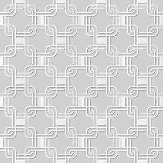 Damassé sans couture art papier 3d rond coin croix carré