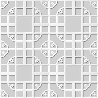 Damassé sans couture art papier 3d spiral corner square cross