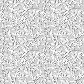 Damassé sans soudure 3d papier art fleur feuille plante