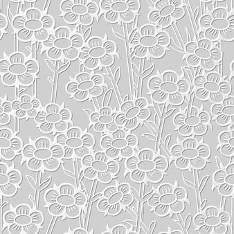 Damassé sans soudure 3d papier art vintage fleur ronde